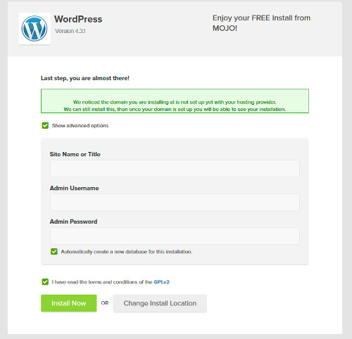 Install WordPress - Step 6